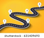 3d winding road on a colorful... | Shutterstock . vector #631409693