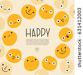 set of hand drawn emoticons  ... | Shutterstock .eps vector #631412003