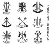 vintage weapon emblems set.... | Shutterstock .eps vector #631430873
