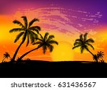 card with realistic palm trees... | Shutterstock .eps vector #631436567