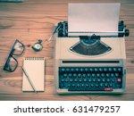Vintage Typewriter With Pen An...