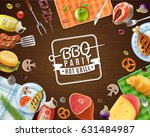bbq party frame with emblem... | Shutterstock .eps vector #631484987
