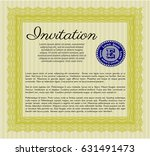yellow formal invitation. retro ... | Shutterstock .eps vector #631491473