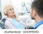 elderly female patient with... | Shutterstock . vector #631495043