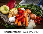 bunch of vegetables on old... | Shutterstock . vector #631497647