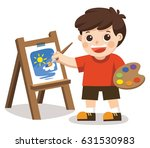 cute artist boy painting flower ... | Shutterstock .eps vector #631530983