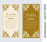 vintage invitation and wedding... | Shutterstock .eps vector #631571603