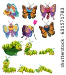 caterpillars and butterflies... | Shutterstock .eps vector #631571783
