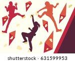 girl rock climbing vector... | Shutterstock .eps vector #631599953