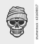 skull in glasses and hat | Shutterstock .eps vector #631608017