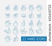 thin line hand icons set.... | Shutterstock .eps vector #631610723