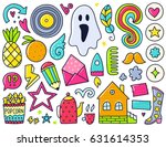 doodles cute isolated elements. ... | Shutterstock .eps vector #631614353