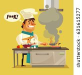 angry sad bad chef character... | Shutterstock .eps vector #631615277