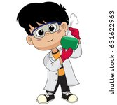 kid doing experiments with... | Shutterstock .eps vector #631622963