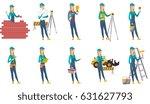 caucasian bricklayer in uniform ... | Shutterstock .eps vector #631627793