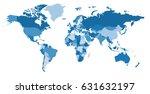 blue world political map. every ... | Shutterstock .eps vector #631632197
