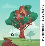 tree house. vector flat cartoon ... | Shutterstock .eps vector #631636643