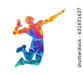 abstract volleyball player | Shutterstock .eps vector #631651637