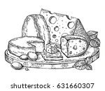 plate of cheese engraving... | Shutterstock . vector #631660307