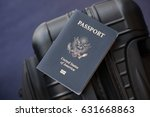 passport on a luggage bag in... | Shutterstock . vector #631668863