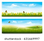 two spring meadow banners with... | Shutterstock .eps vector #631669997