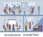 people in coworking office... | Shutterstock .eps vector #631687943