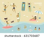 vector summertime cartoon... | Shutterstock .eps vector #631703687