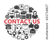 contact us silhouette icons.... | Shutterstock .eps vector #631716827