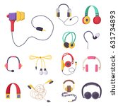 headphones vector set music... | Shutterstock .eps vector #631734893