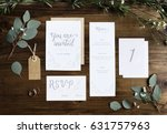 wedding invitation cards papers ... | Shutterstock . vector #631757963