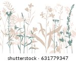 vector silhouettes of flowers... | Shutterstock .eps vector #631779347
