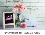 mothers day concept of pink... | Shutterstock . vector #631787387