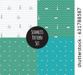 seamless marine pattern set | Shutterstock .eps vector #631788587