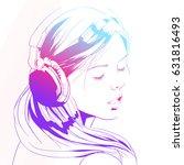 beautiful woman with headphones.... | Shutterstock .eps vector #631816493