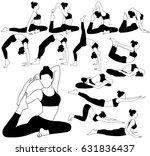 set of vector silhouettes of... | Shutterstock .eps vector #631836437