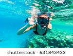 woman underwater snorkeling... | Shutterstock . vector #631843433