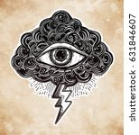 hand drawn all seeing eye with... | Shutterstock .eps vector #631846607
