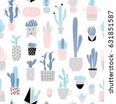 cute summer theme cactus... | Shutterstock .eps vector #631851587