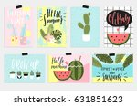 summer greeting cards and... | Shutterstock .eps vector #631851623