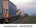lorry trucks cars in traffic... | Shutterstock . vector #631853333