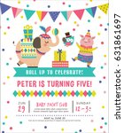 kids birthday party invitation... | Shutterstock .eps vector #631861697