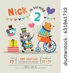 kids birthday party invitation... | Shutterstock .eps vector #631861733