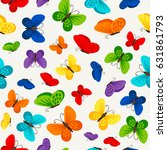 colorful butterflies pattern... | Shutterstock .eps vector #631861793