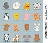cute baby animals cartoon cubs... | Shutterstock .eps vector #631869497