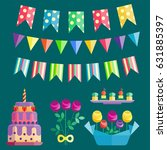 party icons celebration happy... | Shutterstock .eps vector #631885397