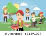 bbq picnic in park. family or... | Shutterstock .eps vector #631891037