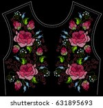 ethnic embroidery pink rose... | Shutterstock . vector #631895693