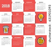 calendar for 2018 year. vector... | Shutterstock .eps vector #631901093