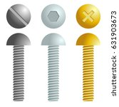 set of metal screws  bolts... | Shutterstock .eps vector #631903673