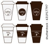 coffee paper cups set. simply... | Shutterstock .eps vector #631917797